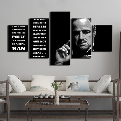 Godfather Poster Picture 5 panels canvas art print painting modular white and black movie wall pictures for living room decor