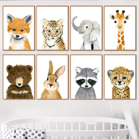 Elephant Zebra Fox Rabbit Bear Owl Giraffe Wall Art Canvas Painting Nordic Posters And Prints Wall Pictures Baby Kids Room Decor