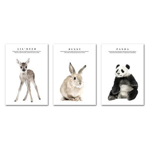 Child Poster Forest Animal Print Baby Panda Deer Bunny Nursery Wall Art Canvas Painting Nordic Bedroom Living Room Decoration
