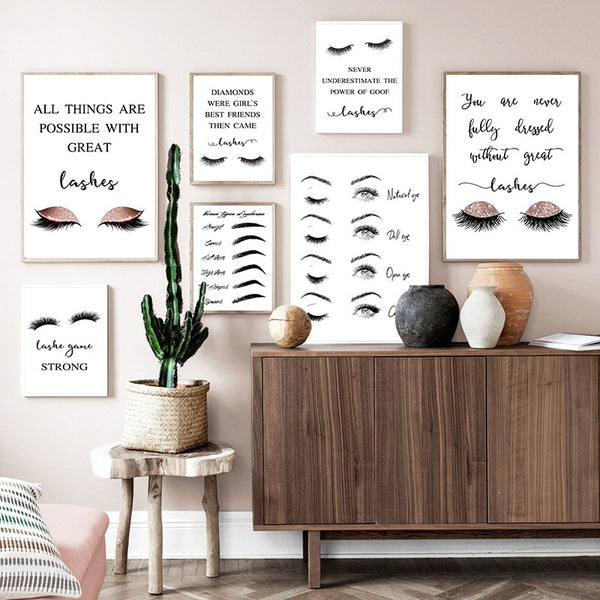 Modern Eyelashes Fashion Canvas Poster Quotes Black White Print Makeup Salon