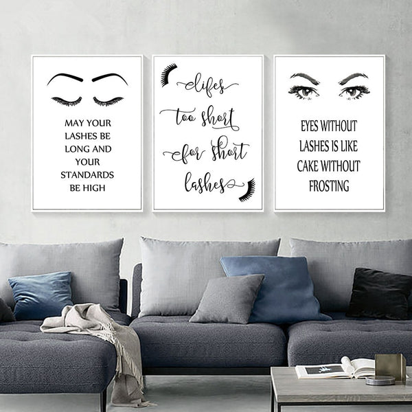Fashion Canvas Art Beauty Salon Painting Abstract Black and White Eyes Eyelash Wall Picture Living Room Decor Posters and Prints
