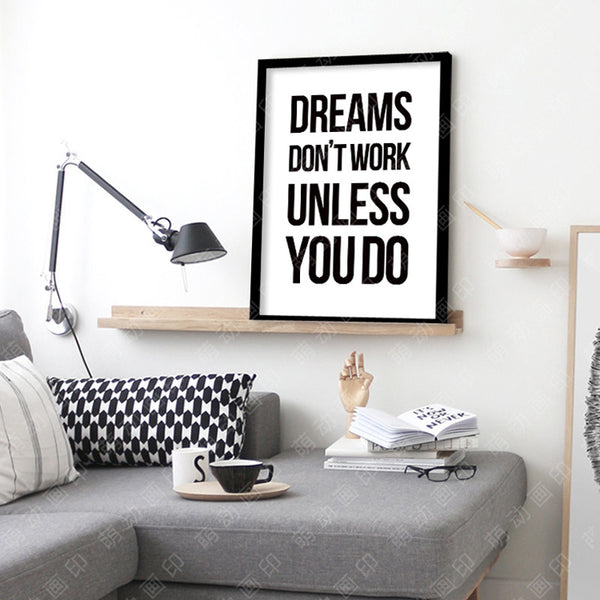 Nordic Decoration Dreams Don't Work word Quote Wall Art Canvas Painting Art Print Wall Pictures For Living Room No Poster Frame