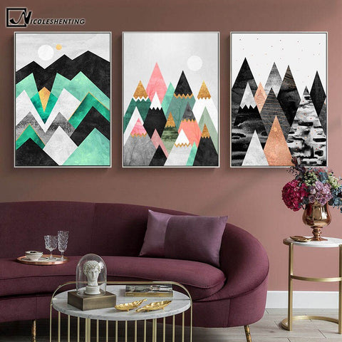 Marble Geometric Mountain Abstract Poster Simplicity Print Nordic Wall Art Picture Canvas Painting Modern Living Room Decoration