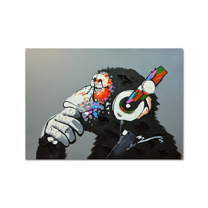 Monkey Art With Earphone Fancy into Music Poster Abstract Art Print