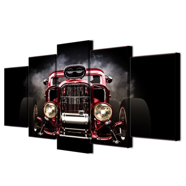 5 Pieces Printed Hot Rod Red Front View Wheels Paintings Wall Art Canvas Modular Living Room Bedroom Home Decoration up-993