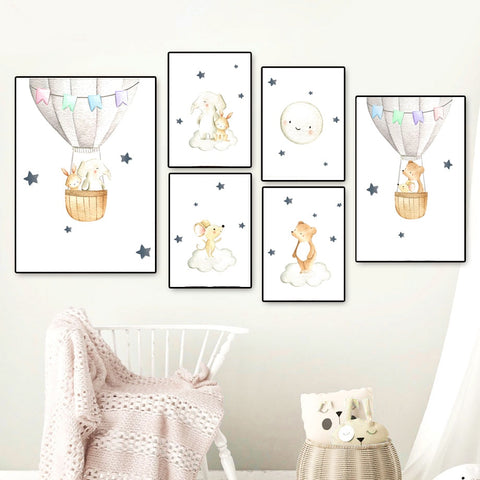 Elephant Rabbit Bear Balloon Moon Nursery Wall Art Canvas Painting Nordic Posters And Prints Wall Pictures Baby Kids Room Decor