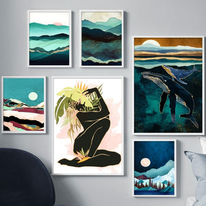 Abstract Landscape Mountain whale Girl Wall Art Canvas Painting Nordic Posters And Prints Wall Pictures For Living Room Decor