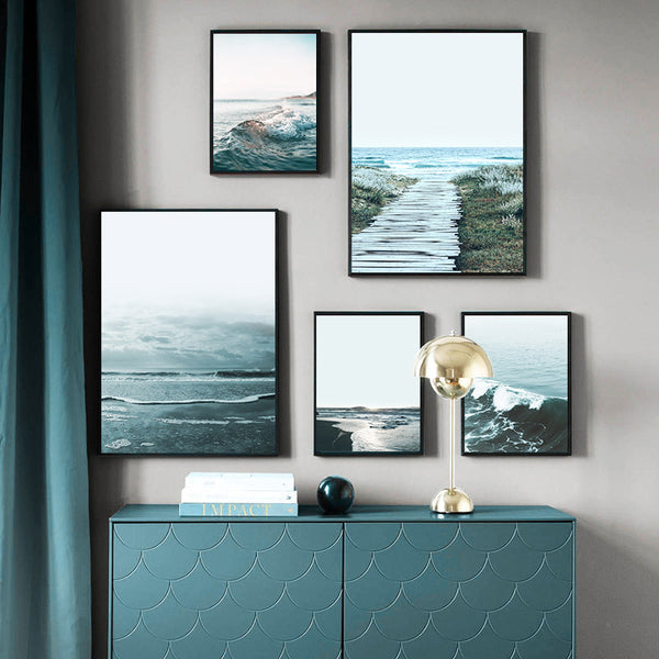 Nordic Decoration Sea Beach Ocean Waves Poster and Print Wall Art Picture