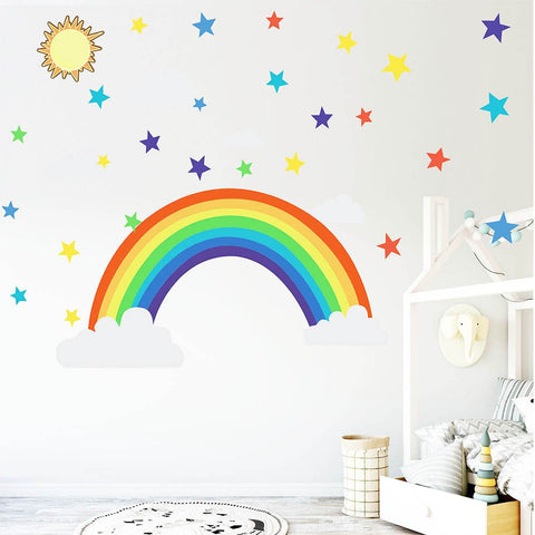 Cartoon rainbow stars Wall Sticker for kids rooms Living room bedroom decorations wallpaper color Mural Child nursery stickers