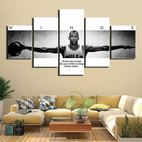 5 Panel basketball player Michael Jordan Painting CANVAS PRINT