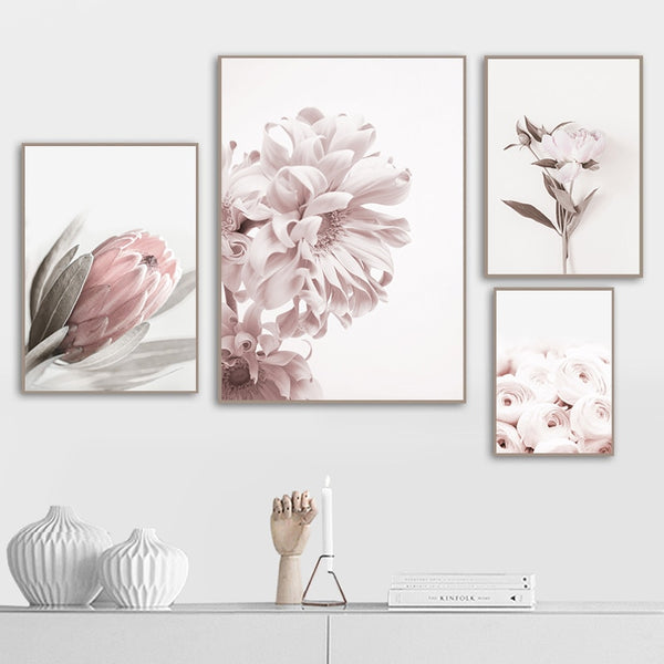 Pink Rose Flower Poster Nordic Style Floral Botanical Print Canvas Art Picture