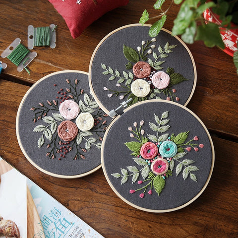 Plant Flowers Pattern Handcraft Embroidery Materials Package DIY Embroidered Needlework Kits Creative Cross Stitch Accessories