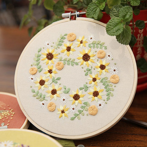 Beautiful Flowers Pattern Cross Stitch Material Package Practical Handcraft Embroidered Materials DIY Embroidery Needlework Kits