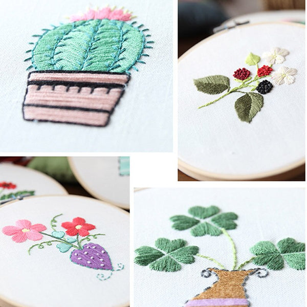 Flower Embroidered Material Creative Embroidery Materials Package DIY