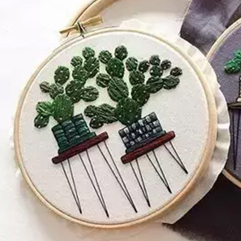 DIY Handcraft Beginner Embroidery Cactus  Embroidery Material Package