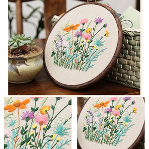 Flowers Handcraft Embroidery Needlework DIY Cross Stitch Materials Package