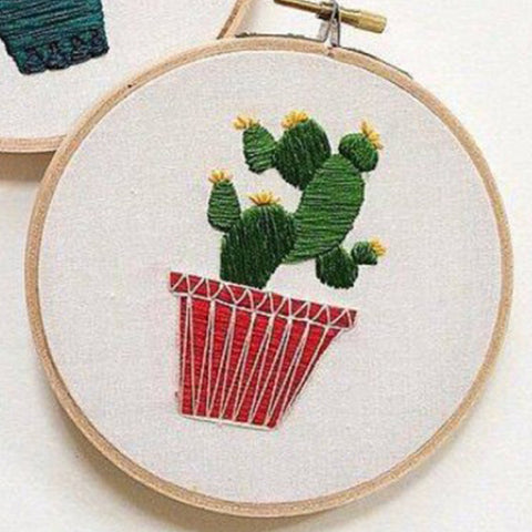 Plants Pattern DIY Cross Stitch Kits Plant Handmade Embroidery Material Package