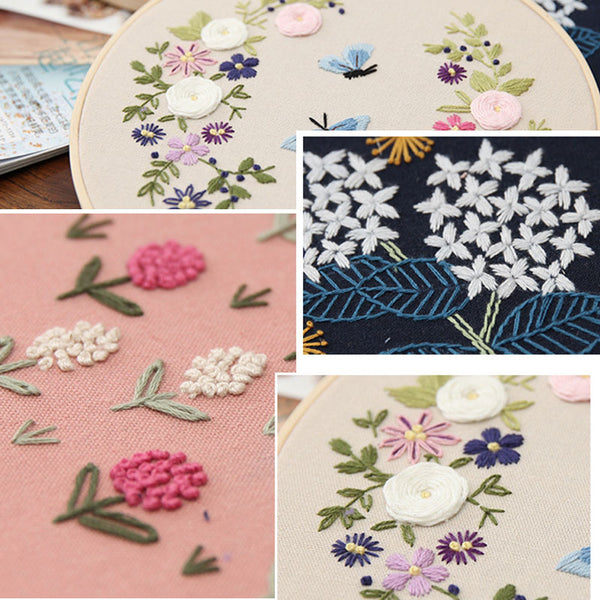 Handcraft Embroidery Material Package DIY Flowers Cross Stitch Needlework Kits