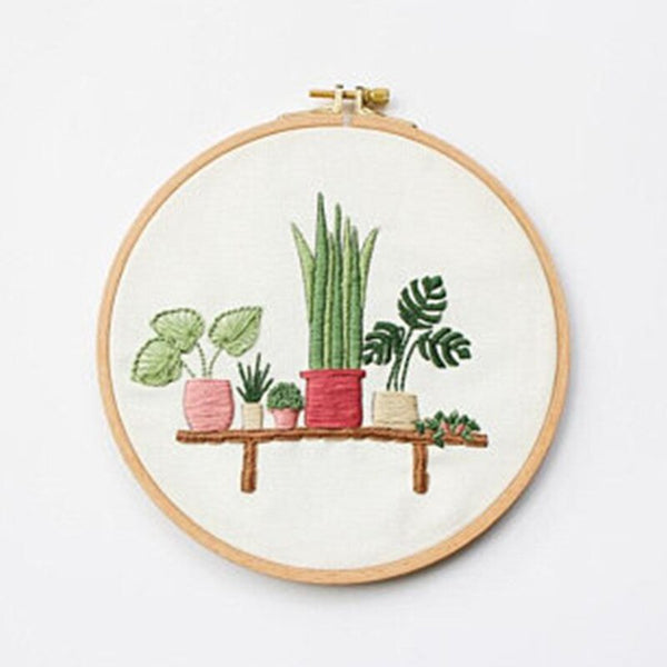 Plant Embroidery Material Package Creative Potted Plants Pattern Kits