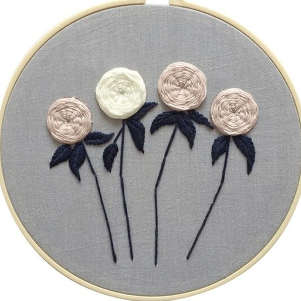 Embroidery Novice Beginner Embroidered Material Package Flowers Pattern DIY