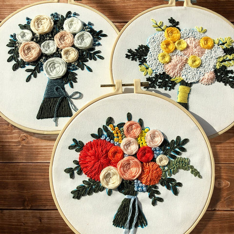 Flowers Embroidery Materials Package DIY Handcraft Cross Stitch Supplies European