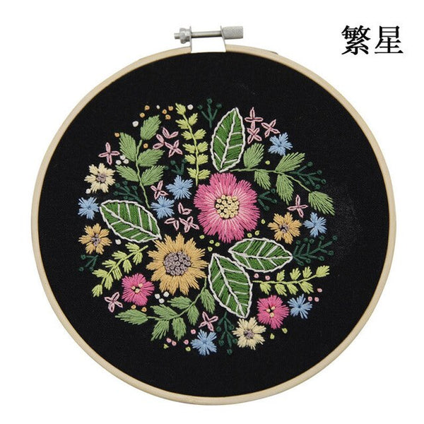 Flowers Pattern Cross Stitch Material Package DIY Embroidery Needlework Kits
