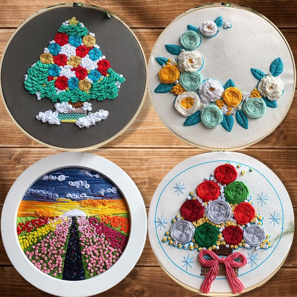 Embroidery Materials Package 3D European Embroidered Supplies DIY Cross Stitch Needlework