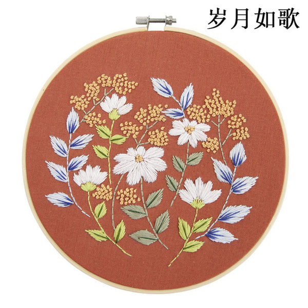 Embroidered Flowers Material Package DIY Handcraft Cross Stitch Needlework Kits Accessories