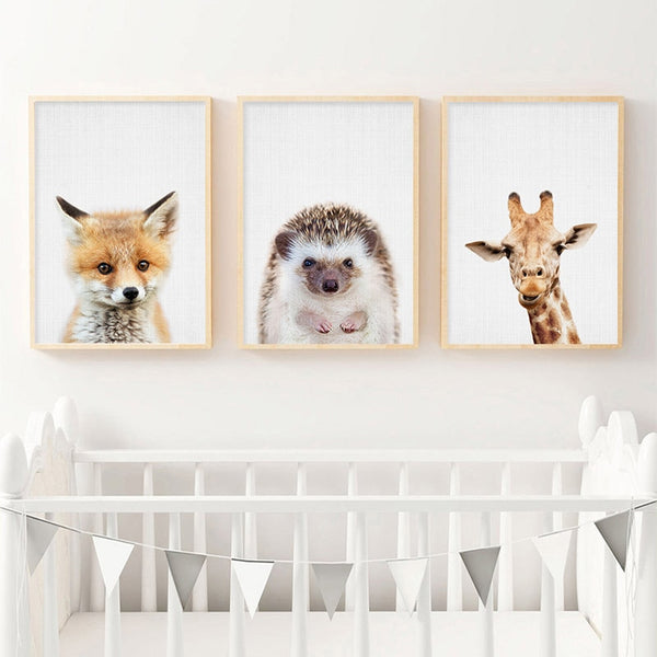 Giraffe Bunny Elephant Canvas Child Poster Nursery Wall Art Picture Print