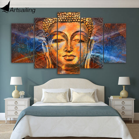5 piece HD Printed Canvas Prints Golden Buddha Picture Canvas Print Decor Wall Picture For Living Room Free shipping YA239C