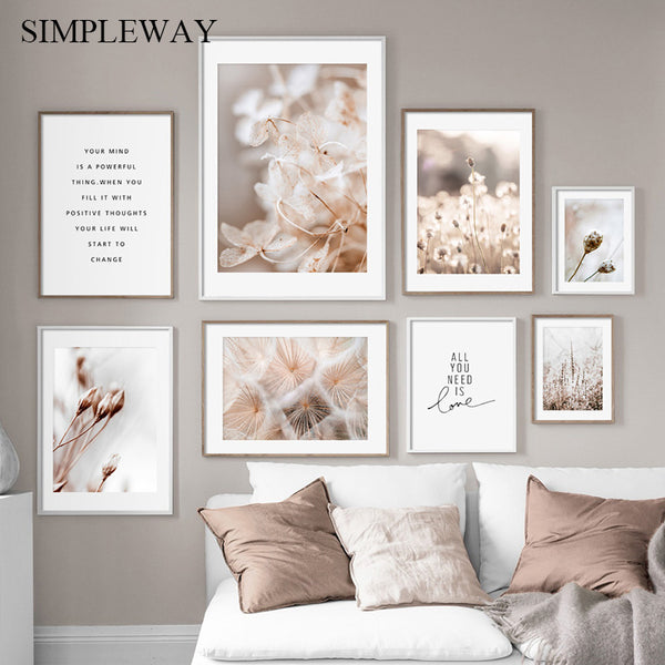 Scandinavian Nature Plant Flower Canvas Painting Nordic Poster Winter Landscape Botanical Print Wall Art Picture Home Decoration