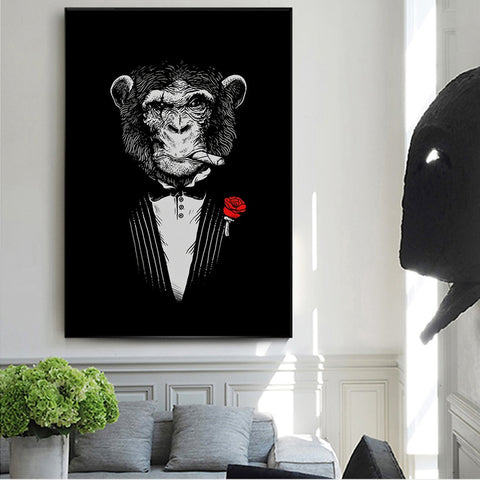 Monkey Smoking Abstract Canvas Paintings