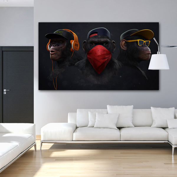 Monkey with Headphone Canvas Paintings for Living Room Decor