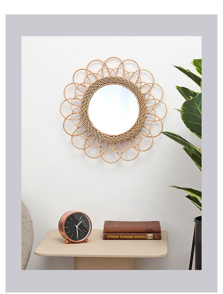 Rattan Wall Mirror Handmade Hanging Decorative Mirrors Bedroom Dressing Table Vanity Mirror Round Creative Manual Vine Mirrors