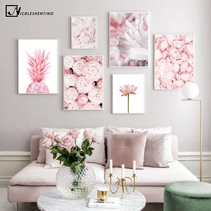 Pink Pineapple Rose Lotus Flower Wall Poster Nordic Botanical Floral Print Scandinavian Canvas Painting Contemporary Art Picture