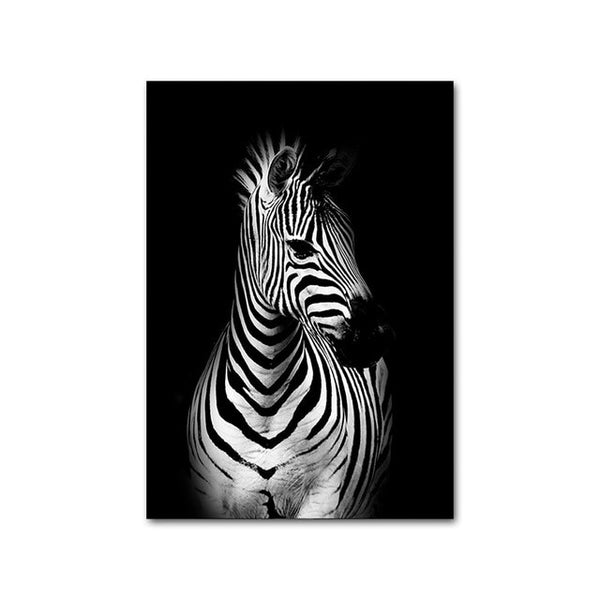 Black White Animal Abstract Picture Zebra Lion Leopard Canvas Poster