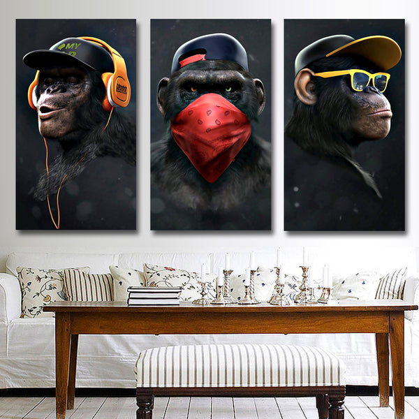 Funny Thinking Monkey Wall Art Poster for Living Room Home Decor No Frame