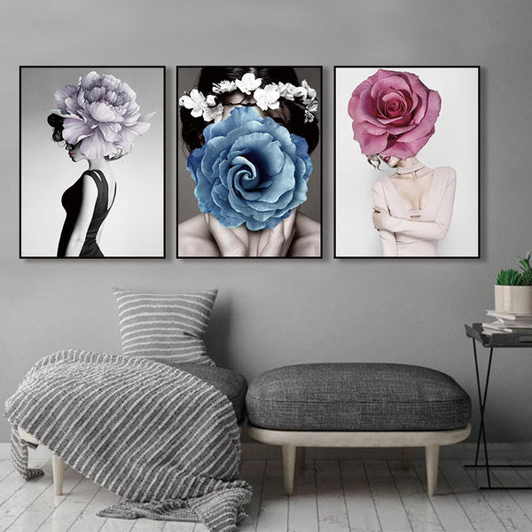 Floral Flower Lady Abstract Canvas Painting Living room wall Decor