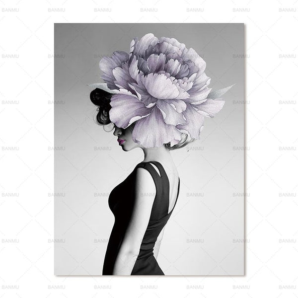 Flower lady wall art Floral Flower Lady Abstract Canvas Painting