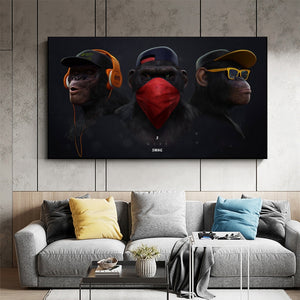 Monkey with Headphone Canvas Paintings