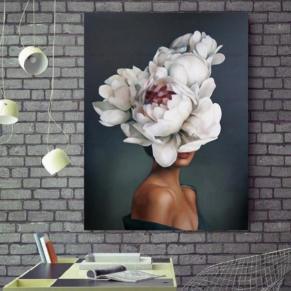 Floral Flower Lady Painting Living room wall Decor