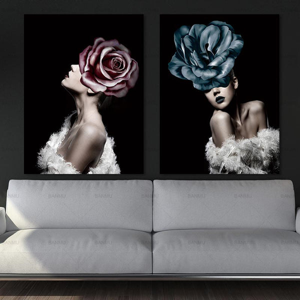 Floral Flower Lady Abstract Canvas Painting Living room Decor