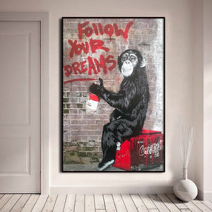Banksy monkey wall decor Street Graffiti Pictures Wall Artwork