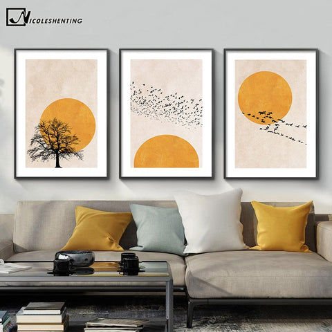 Winter Morning Sun Tree Abstract Poster Nordic Print Scandinavian Wall Art Picture Artwork Canvas Painting Simplicity Home Decor