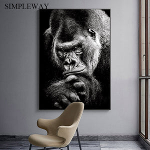 Ape Painting Monkey art Poster Black White Canvas Print