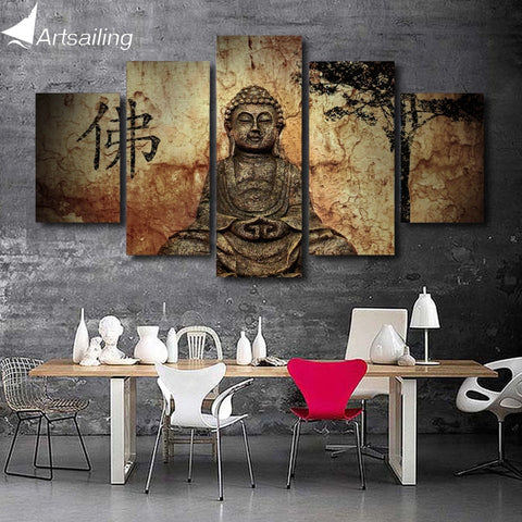 HD Printed 5 piece canvas art Buddha paintings  on the wall for the bedroom living room zen modular pictures /ny-2893