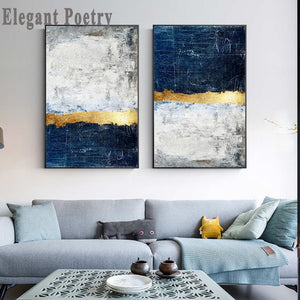 Abstract Gold Foil Block Painting Blue Poster Print Modern Golden Wall Art Picture for Living Room Navy Decor Big Size Tableaux