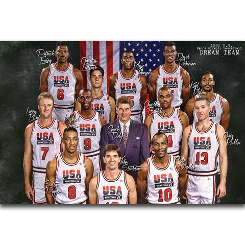 S1256 1992 USA Dream Team Micheal jordan Magic Johnson Wall Art Painting Print On Silk Canvas Poster Home Decoration