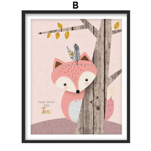 Rabbit Bear Fox Deer Raccoon Owl Nursery Wall Art Canvas Painting