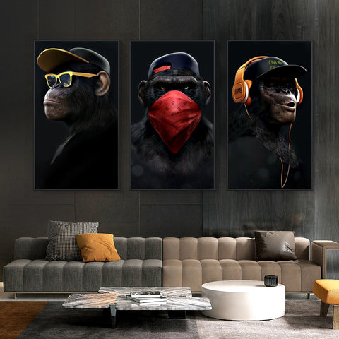 Music Monkey Art Canvas Prints and Posters Wall Art